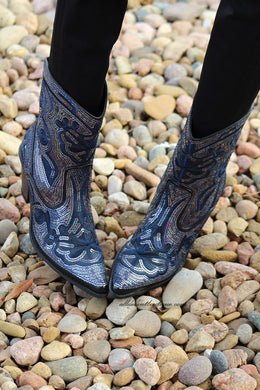 Helen's Heart | Full Embellished Sequin Navy Boot