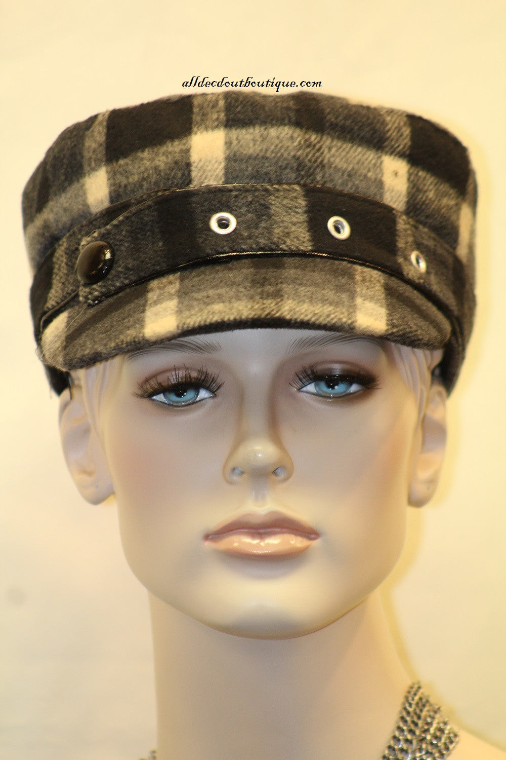 Newsboy Hat | Black Ivory Plaid Pattern