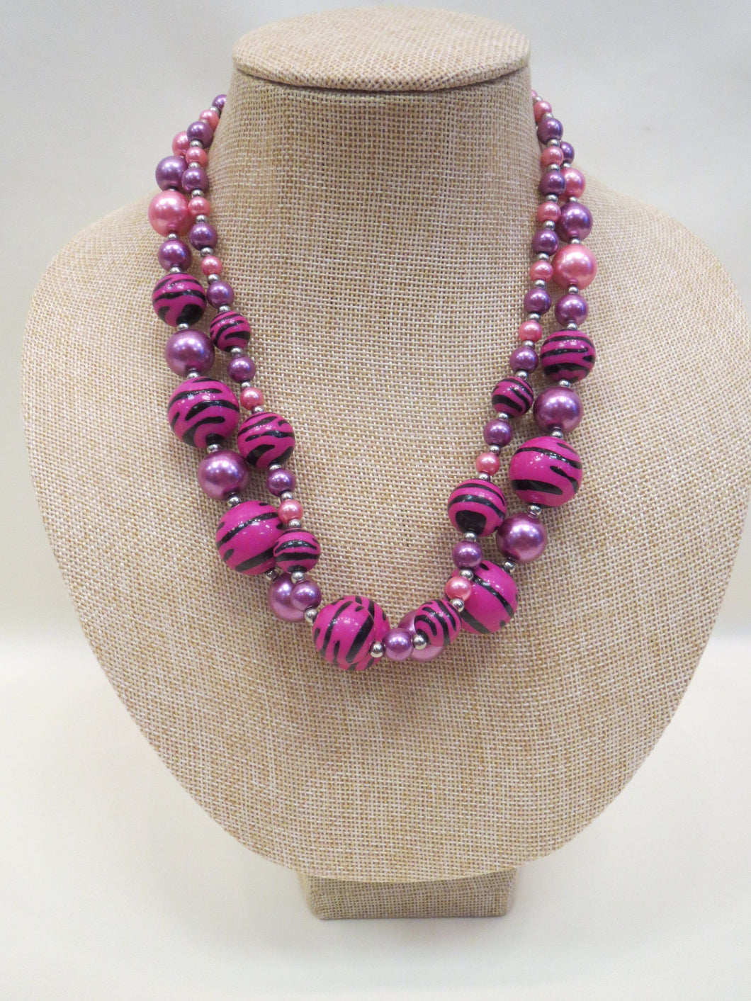 ADO | Zebra & Pink Beaded Necklace