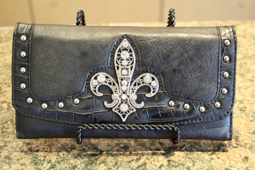 ADO | Embellished Fleur De Lis Trifold Wallet Black - All Decd Out