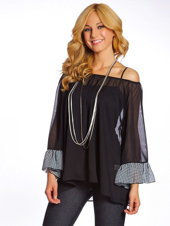 2 Tee Couture | Sheer Top Black - All Decd Out
