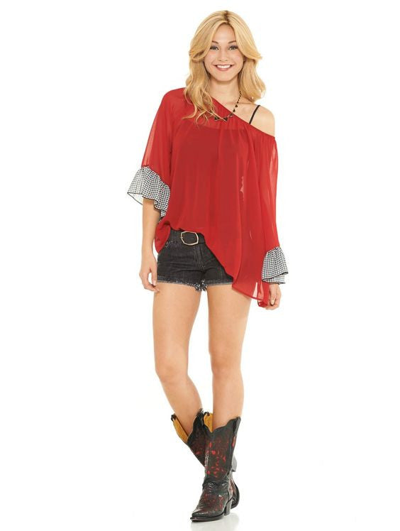 2 Tee Couture Sheer Top Red | All Decd Out