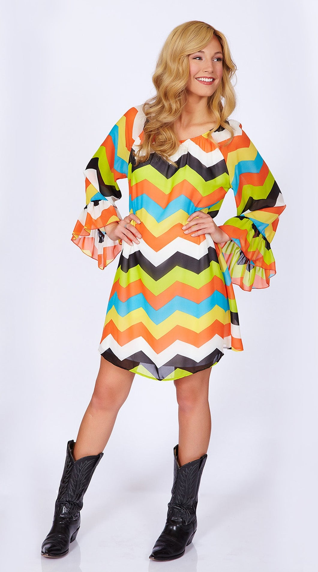 2 Tee Couture | Chevron Dress Orange - All Decd Out
