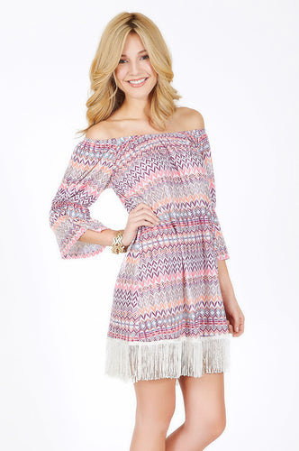 2  Tee Couture | Aztec Pattern Fringe Dress