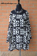 2 Tee Couture | Geometric Print Dress with Flare Sleeve - All Decd Out