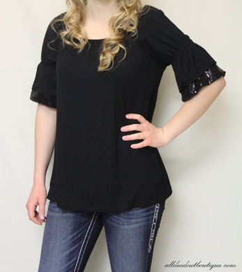 2 Tee Couture | Top with Glitter Sleeves Black - All Decd Out