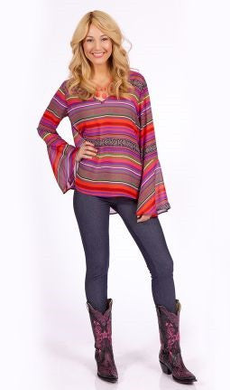 2 Tee Couture | Aztec Print Top Fuchsia - All Decd Out