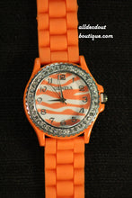 Orange Rhinestones Zebra Print | Silicone Band - All Decd Out