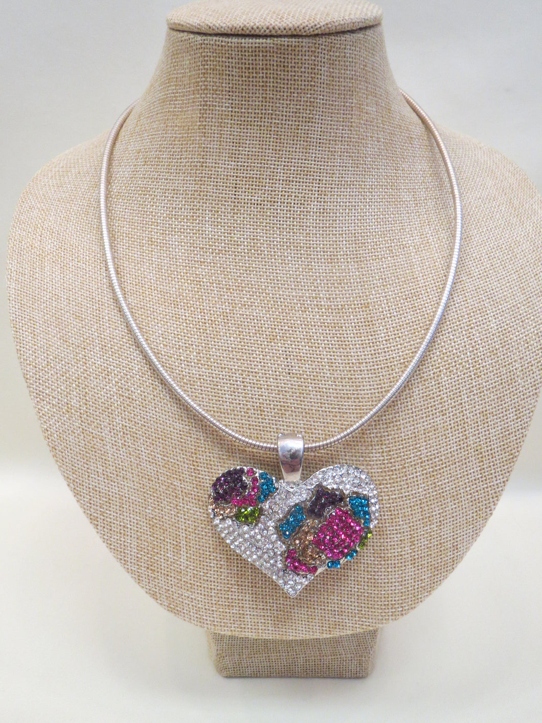 ADO | Embellished Heart Pendant Choker Necklace - All Decd Out