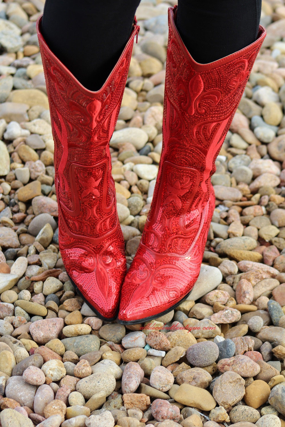 Helen's Heart | Full Embellished Sequin Red Boot