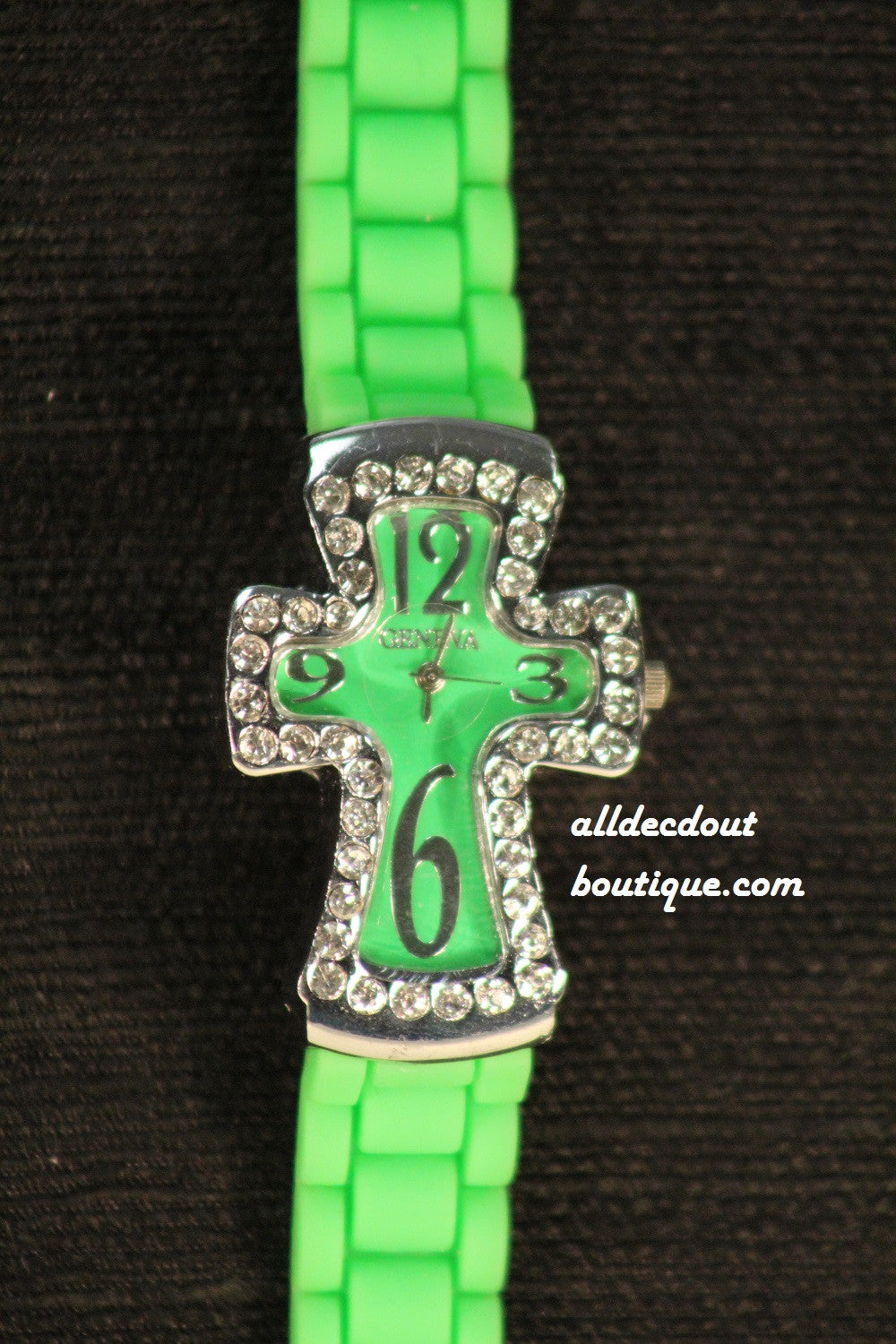 Green/Green Cross Clear Rhinestones | Silicone Band - All Decd Out