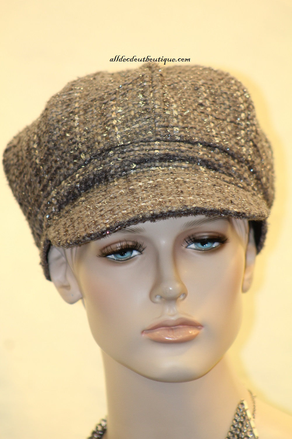 Newsboy Round Top Hat | Knit Charcoal with Silver Stitching