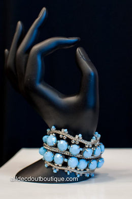 ADO | Beaded Turquoise & Silver Clasp Bracelet with Stones