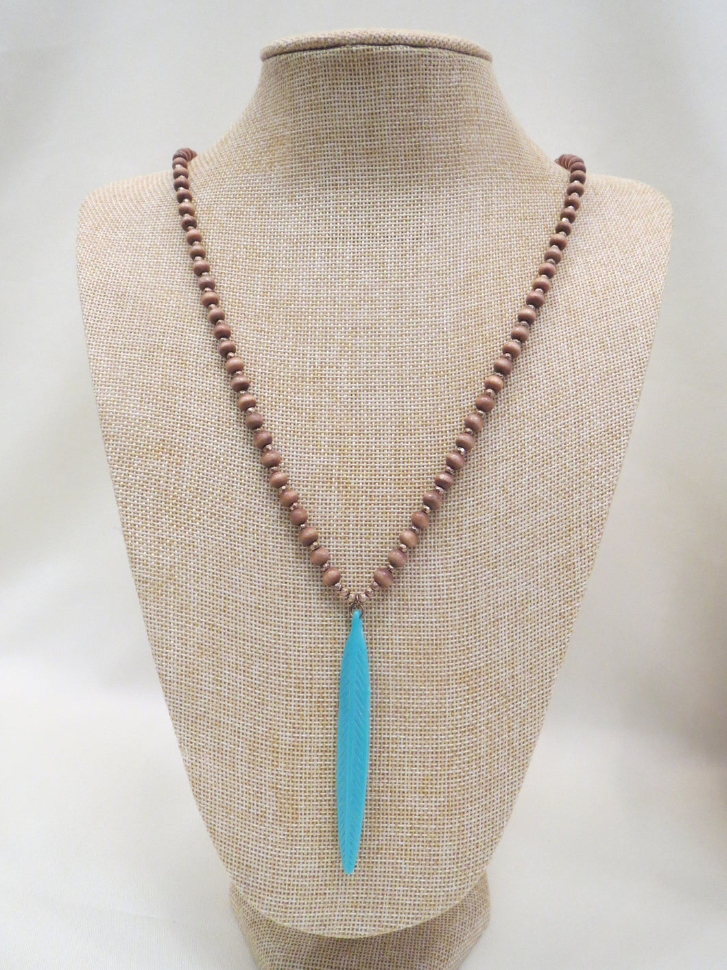 ADO Turquoise Feather Pendant Wood Bead Necklace | All Dec'd Out