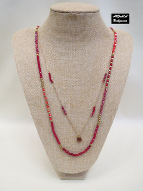 ADO | 2 Layer Red & Gold Necklace on Cord - All Decd Out