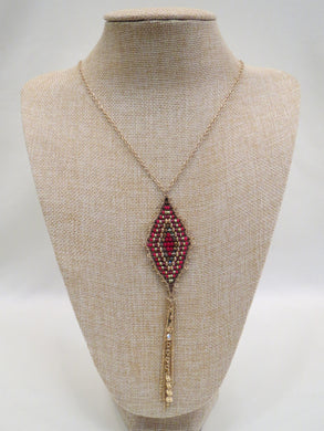ADO | Diamond Shaped Pendant with Gold Chain Tassel - All Decd Out