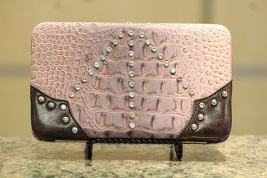 ADO | Crocodile Print Plum Clutch Wallet - All Decd Out