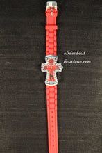 Red/Red Cross Clear Rhinestones | Silicone Band - All Decd Out