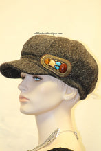 Newsboy Hat | Charcoal with Left Side of Hat Grouping of Stones and Crystals
