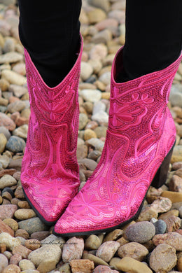Helen's Heart | Full Embellished Sequin Fuchsia Boot
