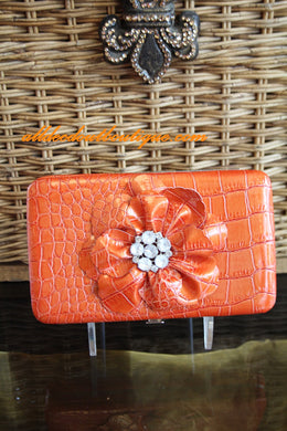 ADO | Embellished Orange Flower Clutch Wallet - All Decd Out