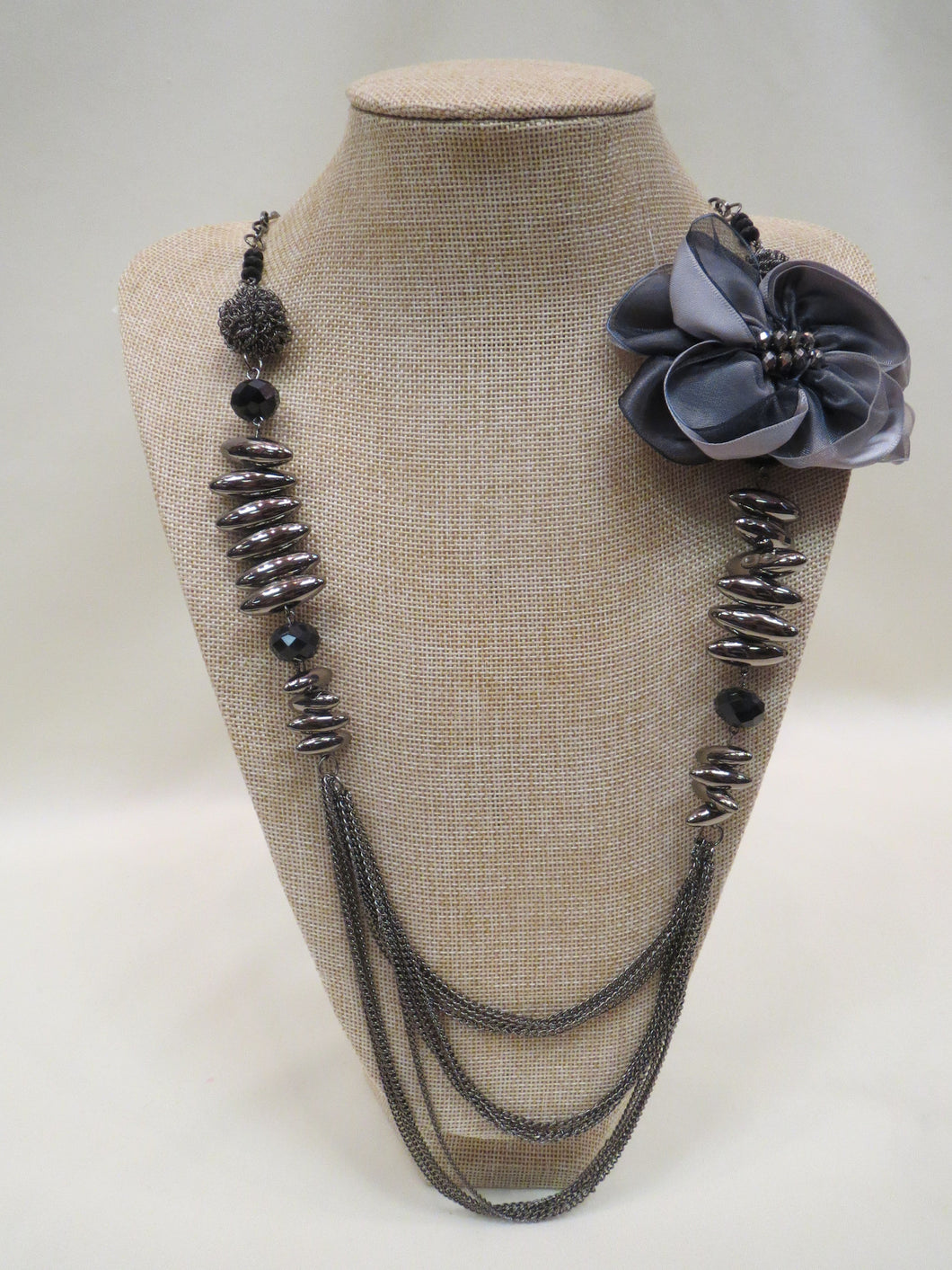 ADO | Charcoal Necklace with Bow - All Decd Out