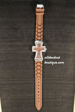 Brown/Brown Cross Clear Rhinestones | Silicone Band - All Decd Out