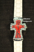 White/Red Cross Clear Rhinestones | Silicone Band - All Decd Out