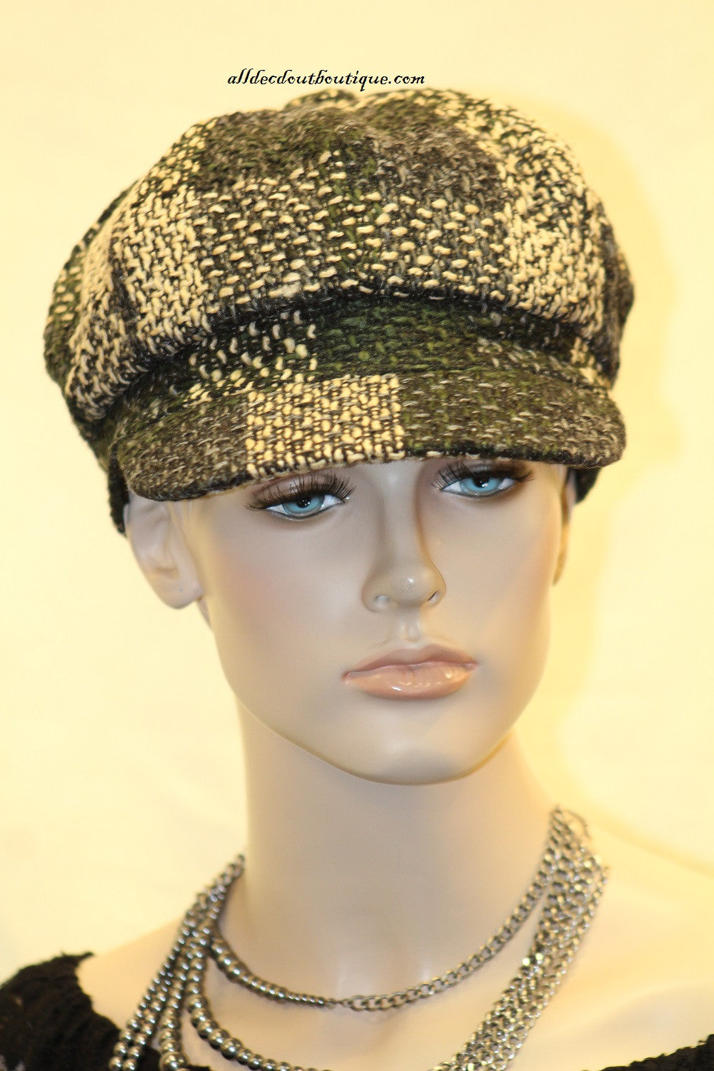 Newsboy Round Top Hat | Knit Green, Cream, and Blue