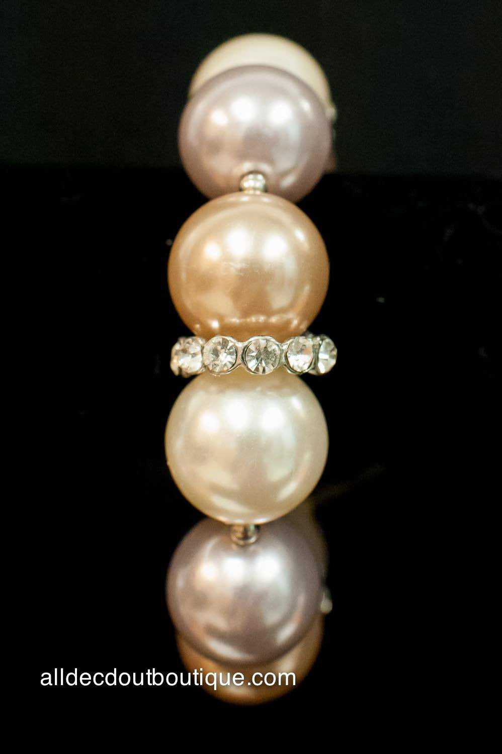 ADO | Stretch Bracelet with Colored Pearls and Crystals