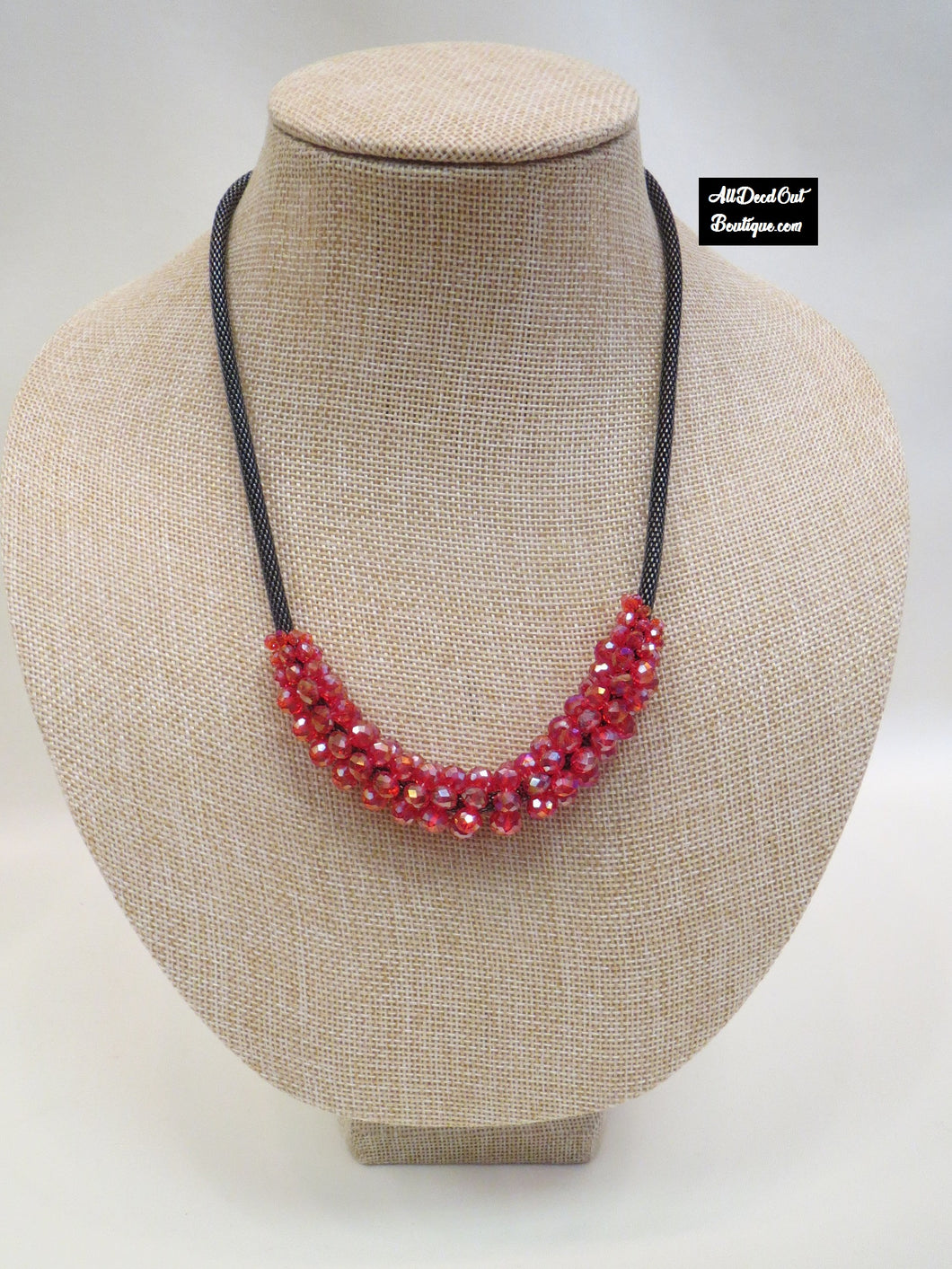ADO | Red Crystal Cluster Necklace
