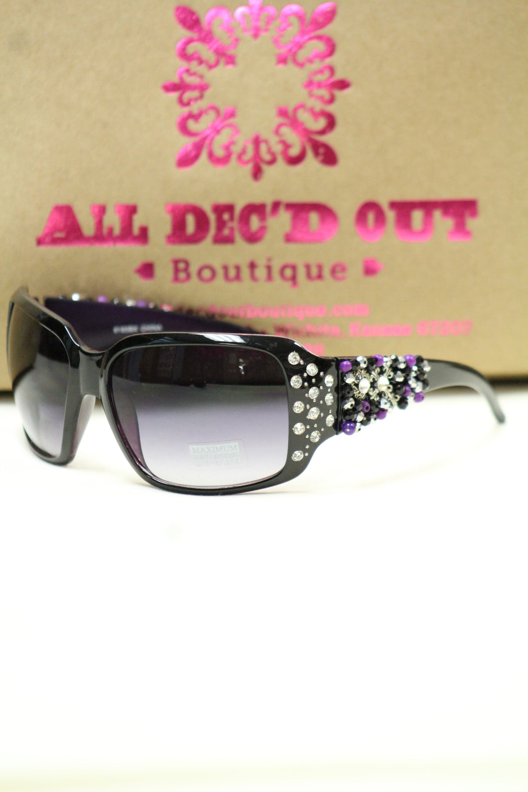 ADO | Customized Sunglasses Purple Tint with Purple Beads & Silver Cross - All Decd Out