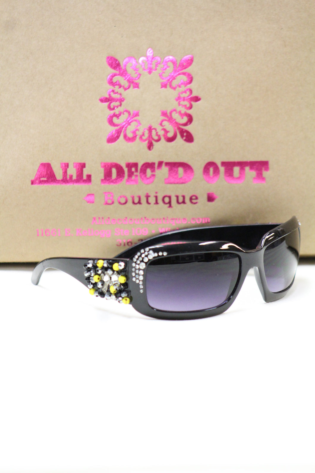 ADO | Customized Sunglasses Black with Yellow Beads & Silver Cross - All Decd Out