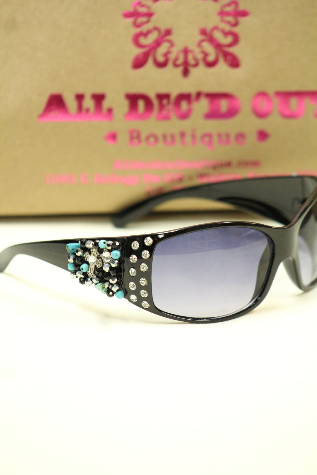 ADO | Customized Sunglasses Black with Turquoise Beads & Silver Cross - All Decd Out
