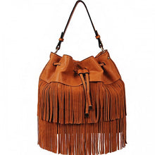 ADO | Drawstring Fringe Hobo Handbag Brown - All Decd Out