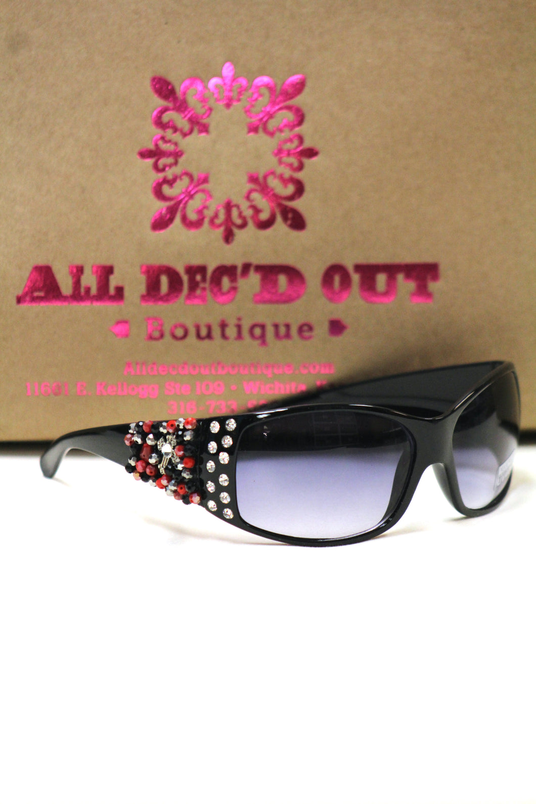 ADO | Customized Sunglasses Black with Red Beads & Silver Cross - All Decd Out
