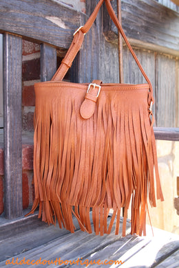 ADO | Fringe Messenger Purse Tan - All Decd Out