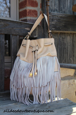 ADO | Drawstring Fringe Hobo Handbag Beige - All Decd Out