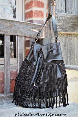 ADO | Drawstring Fringe Hobo Handbag Black - All Decd Out