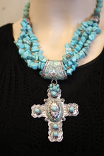 Treska | Cross Pendant on Beaded Necklace Turquoise