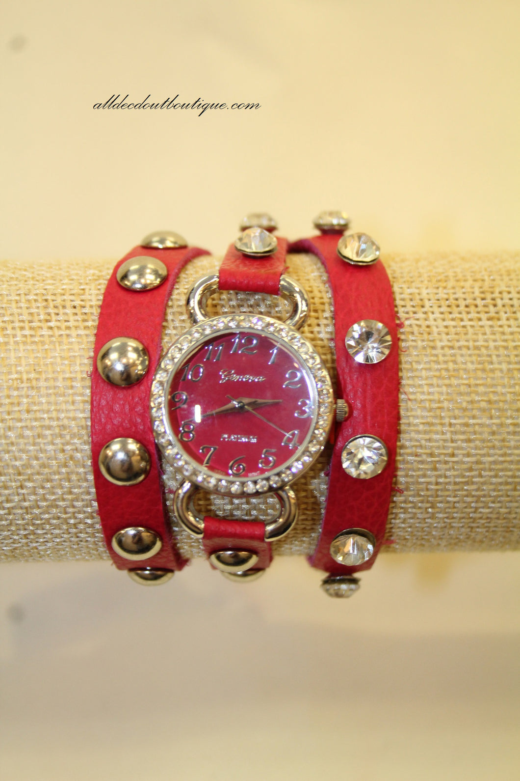 Hot Pink/Hot Pink Silver Studs & Clear Rhinestones | Leather Band w/ Button Clasp
