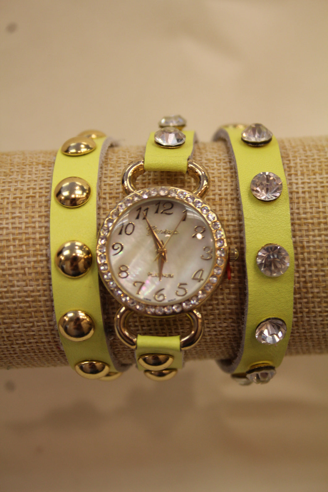 Neon Yellow/White Gold Studs & Clear Rhinestones | Leather Band w/ Button Clasp