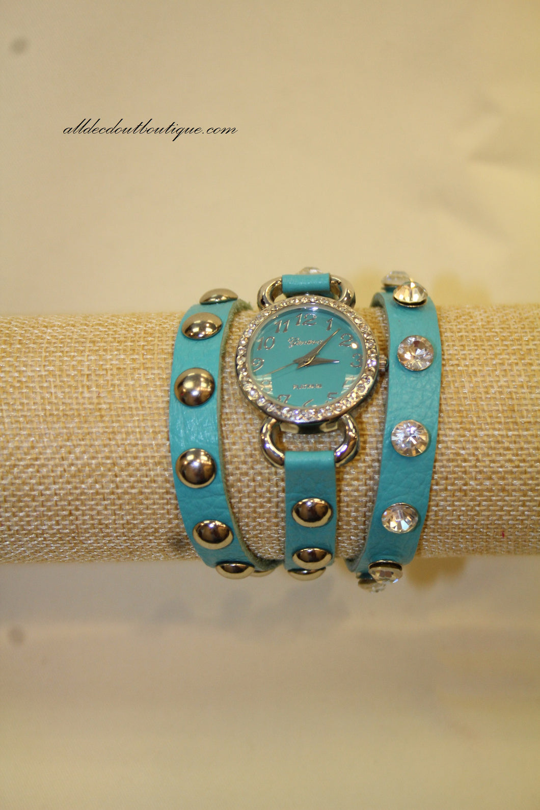 Neon Blue Silver Studs & Clear Rhinestones | Leather Band w/ Button Clasp