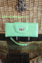 ADO | Lime Green Leather Trifold Clutch Wallet