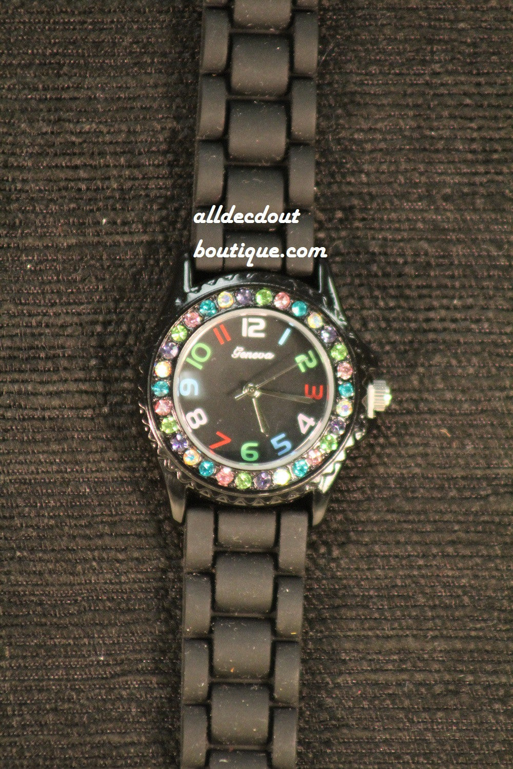 Black/Black Multi Color Rhinestones | Silicone Band - All Decd Out