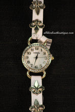 White/White Fleur de Lis | Leather Band w/ Button Clasp