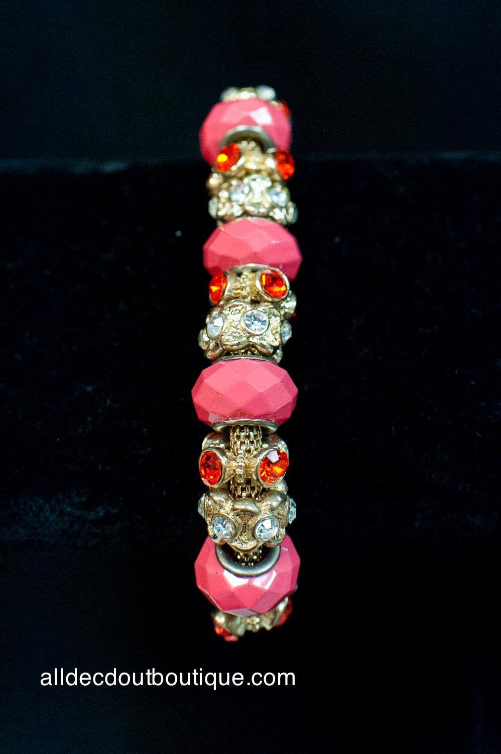 ADO | Gold Stretch Bracelet with Hot Pink Beads - All Decd Out
