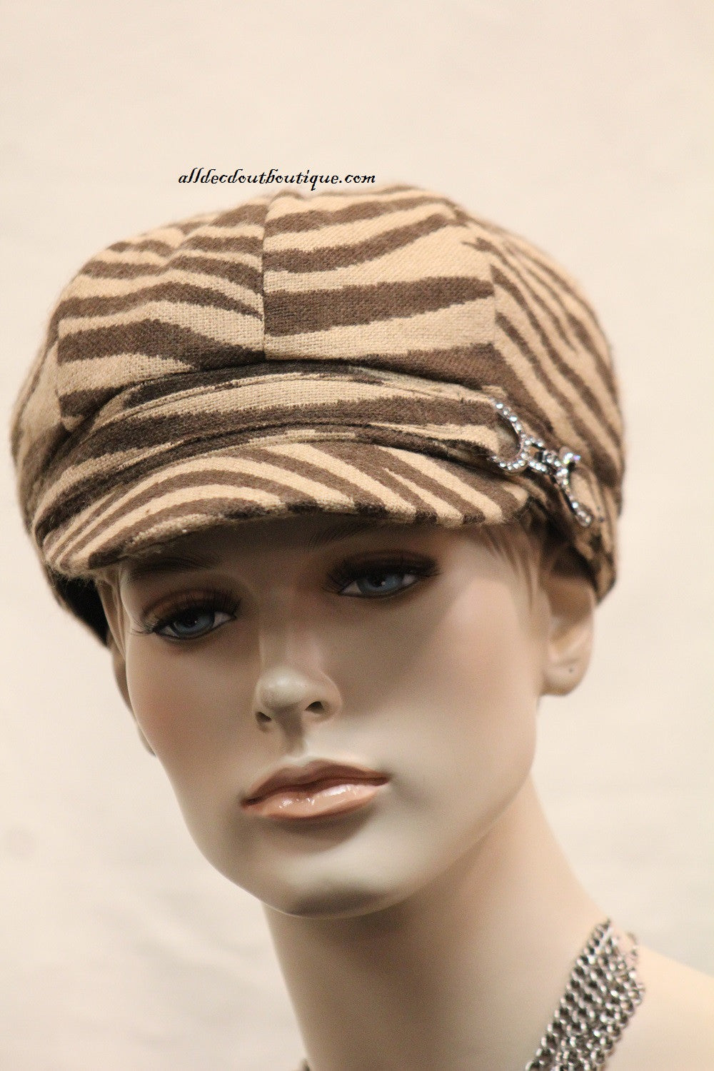 Newsboy Round Top Hat | Brown Zebra Print with Metal Buckle Clear Rhinestones