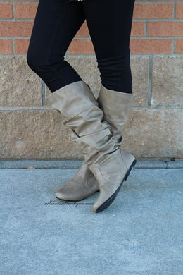 Qupid | Neo Mid-Calf Slouchy Boot Taupe