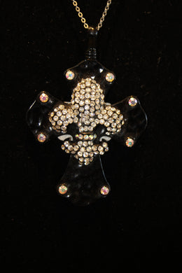 ADO | Black Embellished Cross with Fleur De Lis - All Decd Out